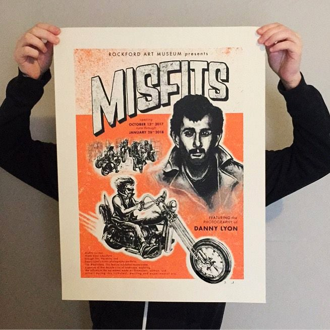 """Misfits"" Danny Lyon Rockford Art Museum photo exhibit poster"