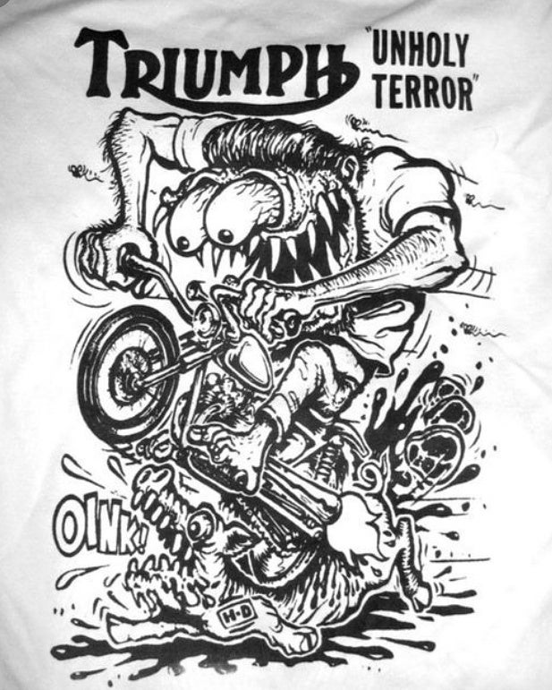 Image of Triumph Unholy Terror or Do it in the Dirt Gold Star tee