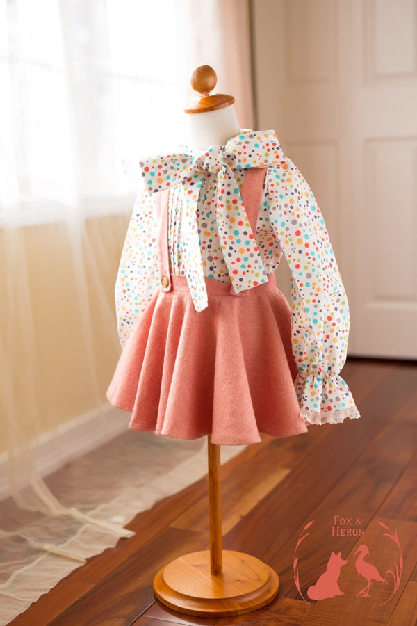 Image of Polka dot Mindy blouse & peaches and cream tweed skirt and suspender skirt