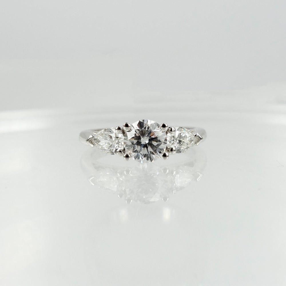 Image of 18ct White Gold Round + Pear Shape Diamond Engagement Ring
