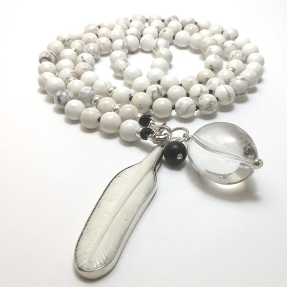 Image of Howlite as a Feather Double Infinity Mala 88