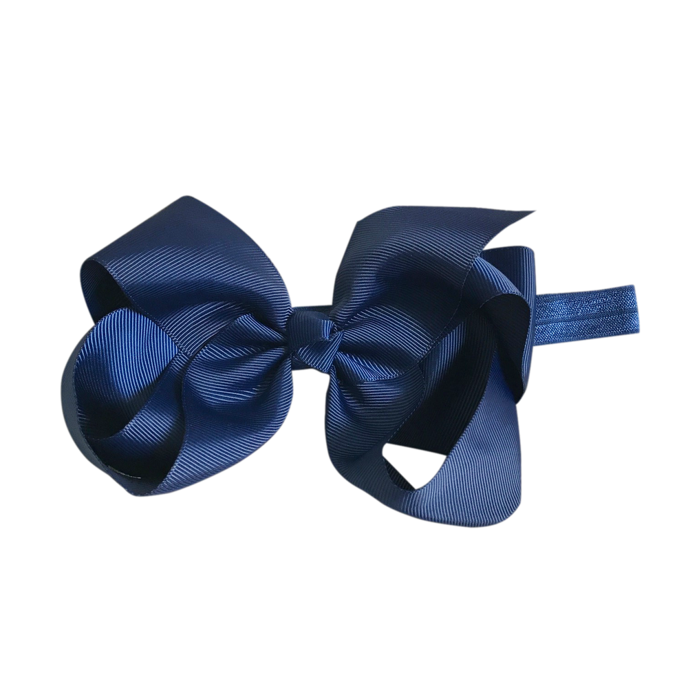 Image of Navy Big Bow Baby Headband