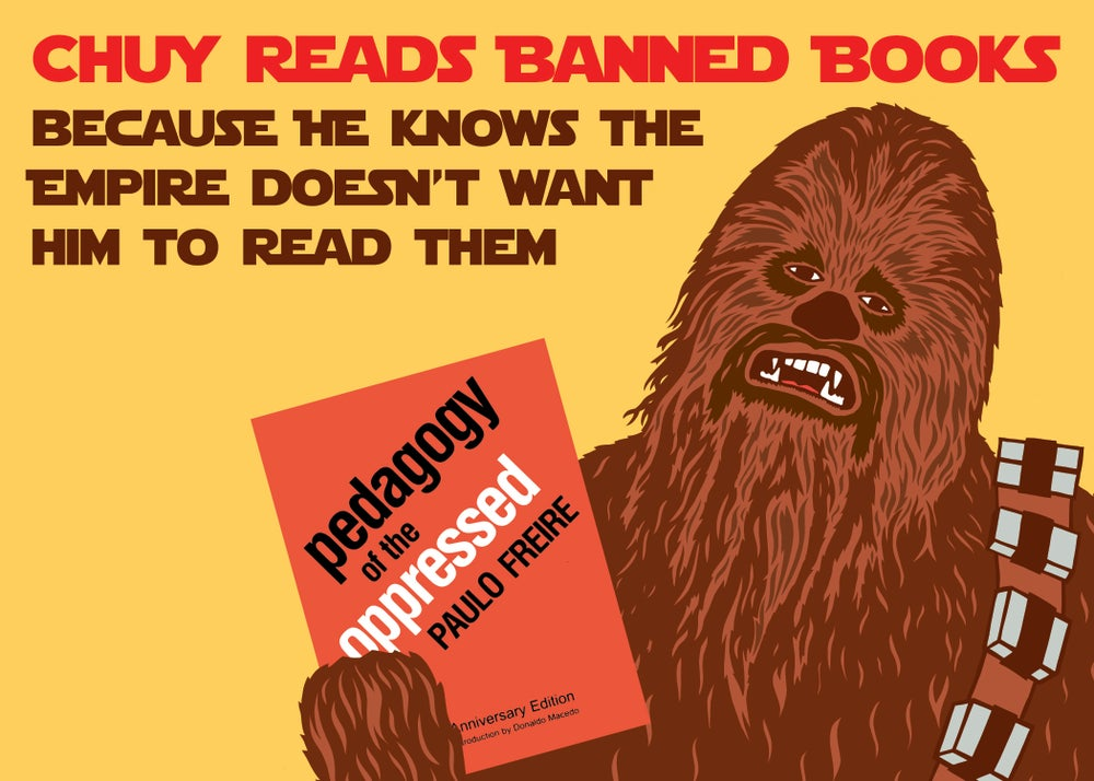 Image of Chuy Reads Banned Books Postcard