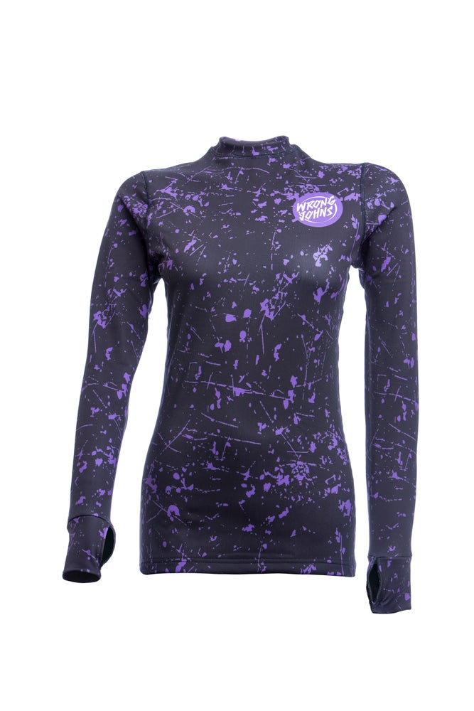 Image of Womens Purple Splashed Paint Thermal Top