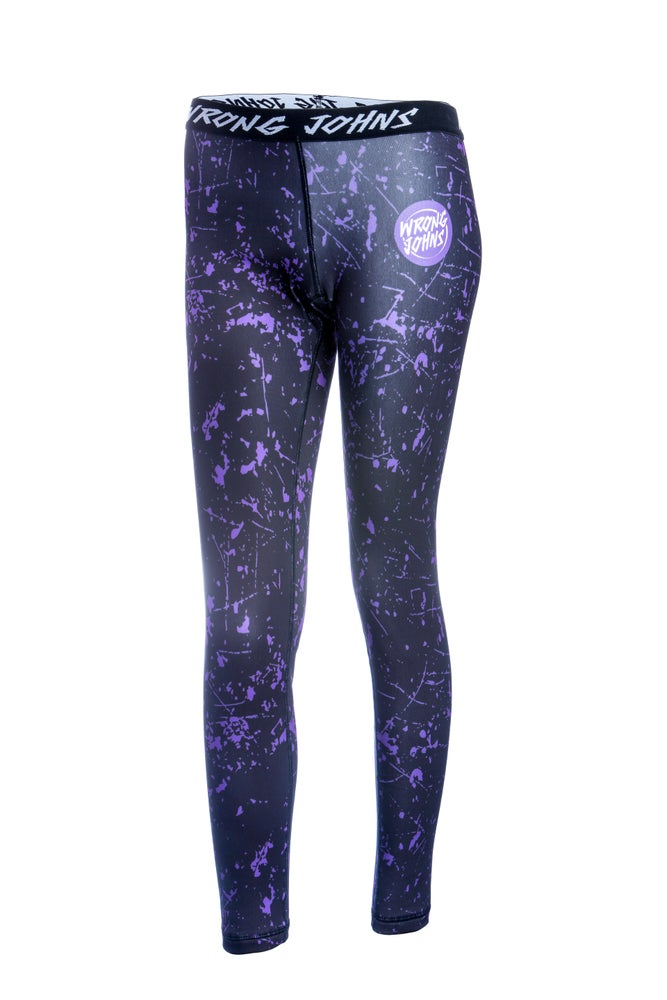 Image of Womens Purple Splashed Paint Thermal Bottoms