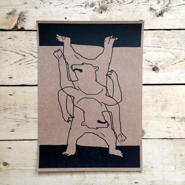 Image of One off weird double Sun Bear print A3