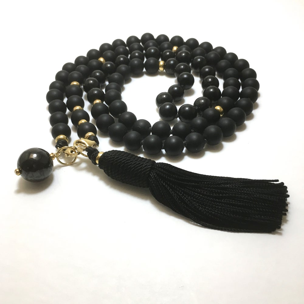 Image of Onyx Double Infinity Gold Mala 88