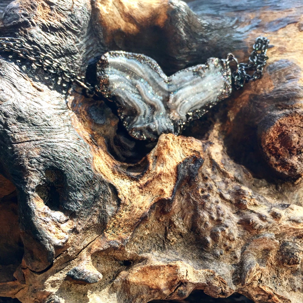 """Image of """"AGATE GEODE THE WOMB OF THE DIVINE"""" ~Heart Shaped Raw Geode on oxidized chain"""