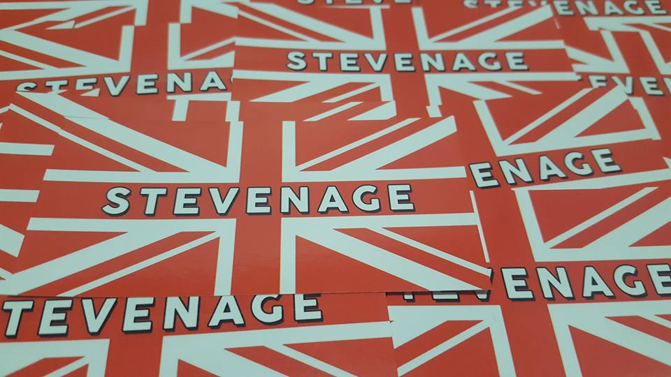 Image of Stevenage Red & White british flag. Football Ultras Stickers 7x7cm. 25 pack.