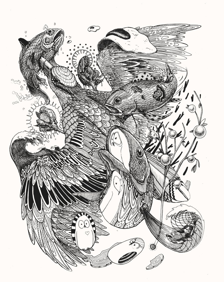 "Image of ""Blue bird, Blue fish, and a ton of other shit"" Original drawing"