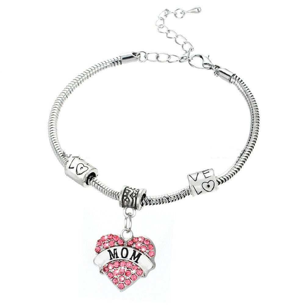 Image of BLESSED RHINESTONE HEART INSPIRATIONAL BRACELET