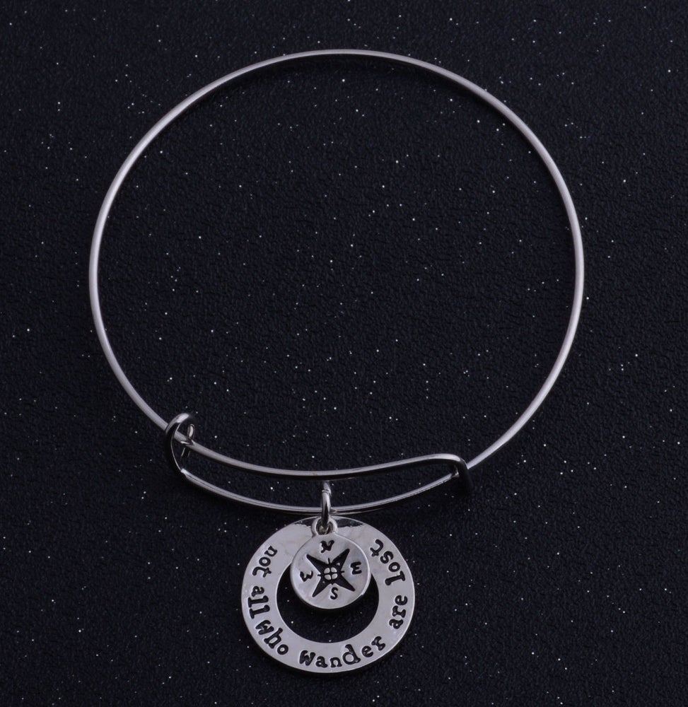 Image of NOT ALL WHO WANDER ARE LOST BANGLE BRACELET