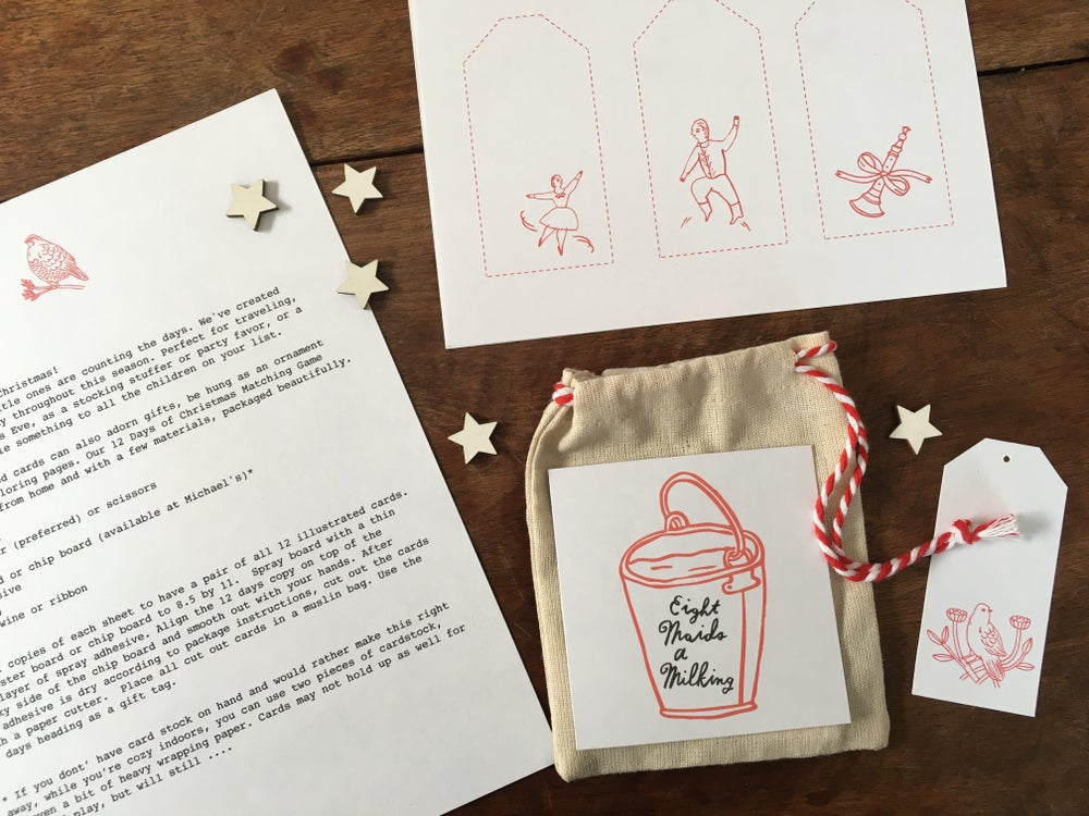 Image of 12 Days of Christmas Matching Game printable