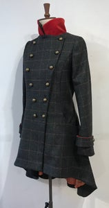 Image of Check and velvet commander coat