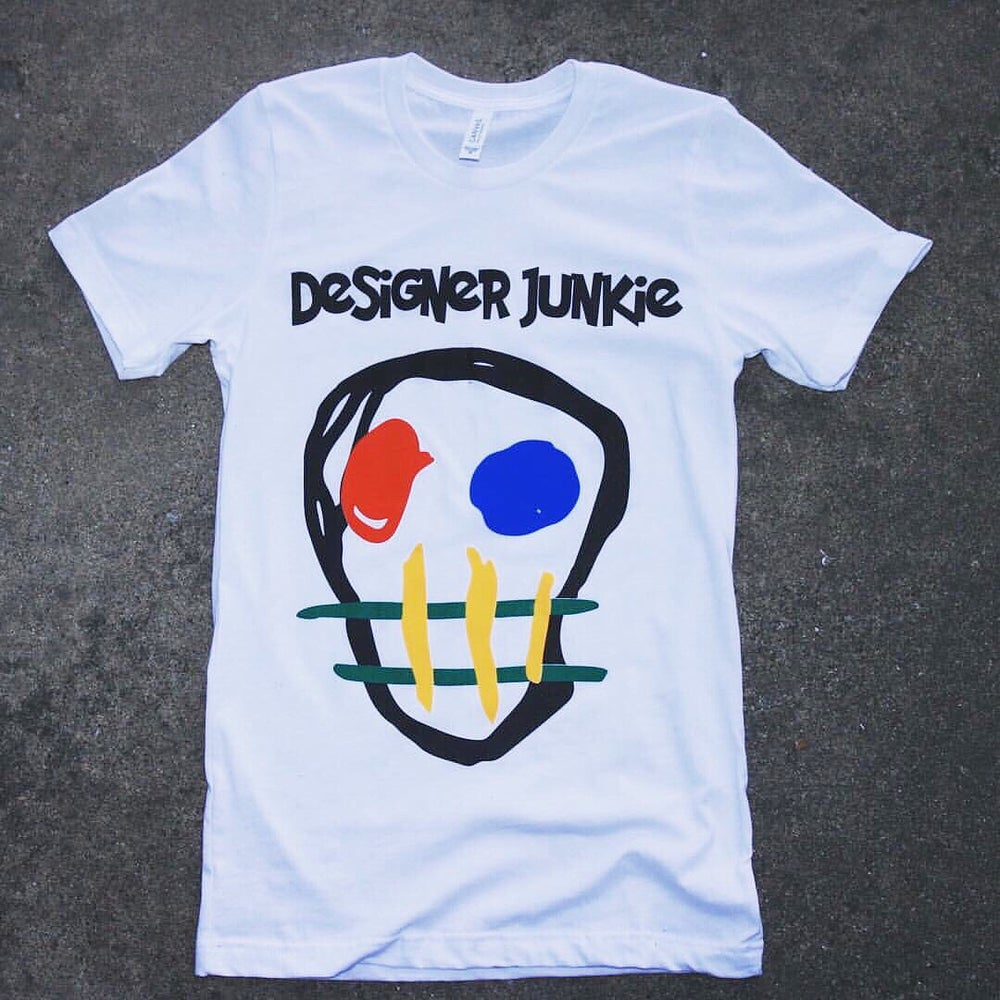 Image of White Designer Junkie Apparel Big Face Logo Tee
