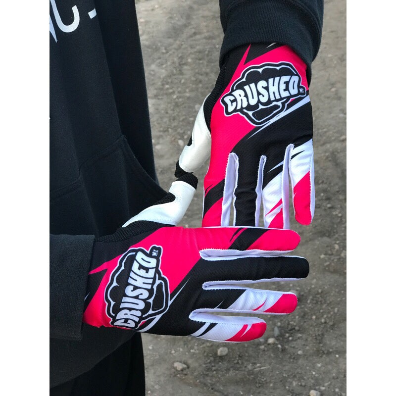 Image of Hot Pink Black And White Motocross Gloves
