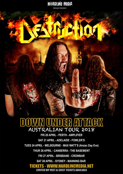 Image of DESTRUCTION TICKET (VIP) - ADELAIDE, FOWLER'S - SAT 21 APR 2018