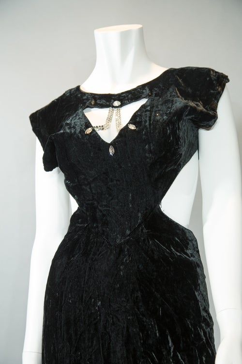 Image of Velvet & Rhinestones Cutout Dress