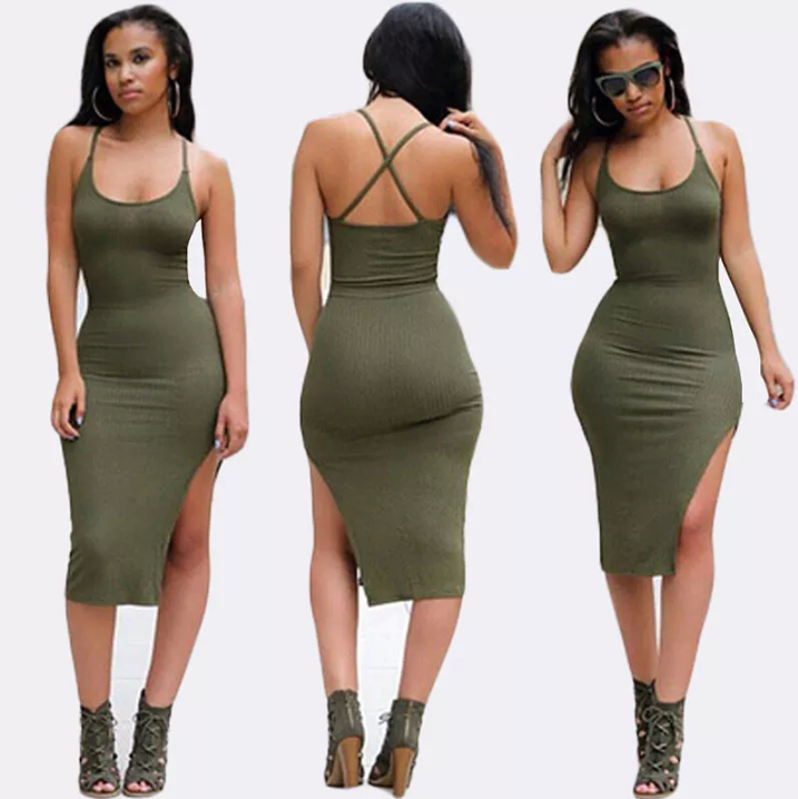 Image of Khaki green Halter neck side split midi dress