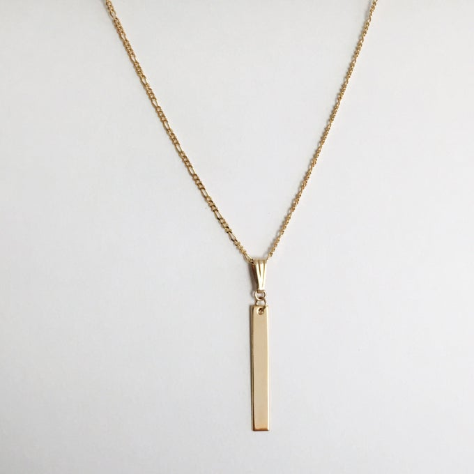Image of HRLuxe BLANK VERTICAL GOLD BAR Necklace - 24k Gold Plated