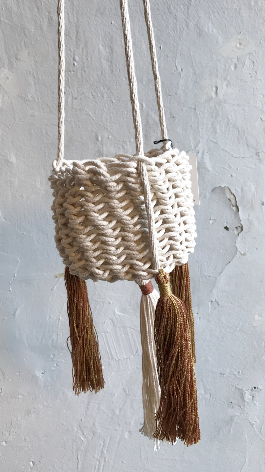 Image of Karen Gayle Tinney Hanging Tassel Basket