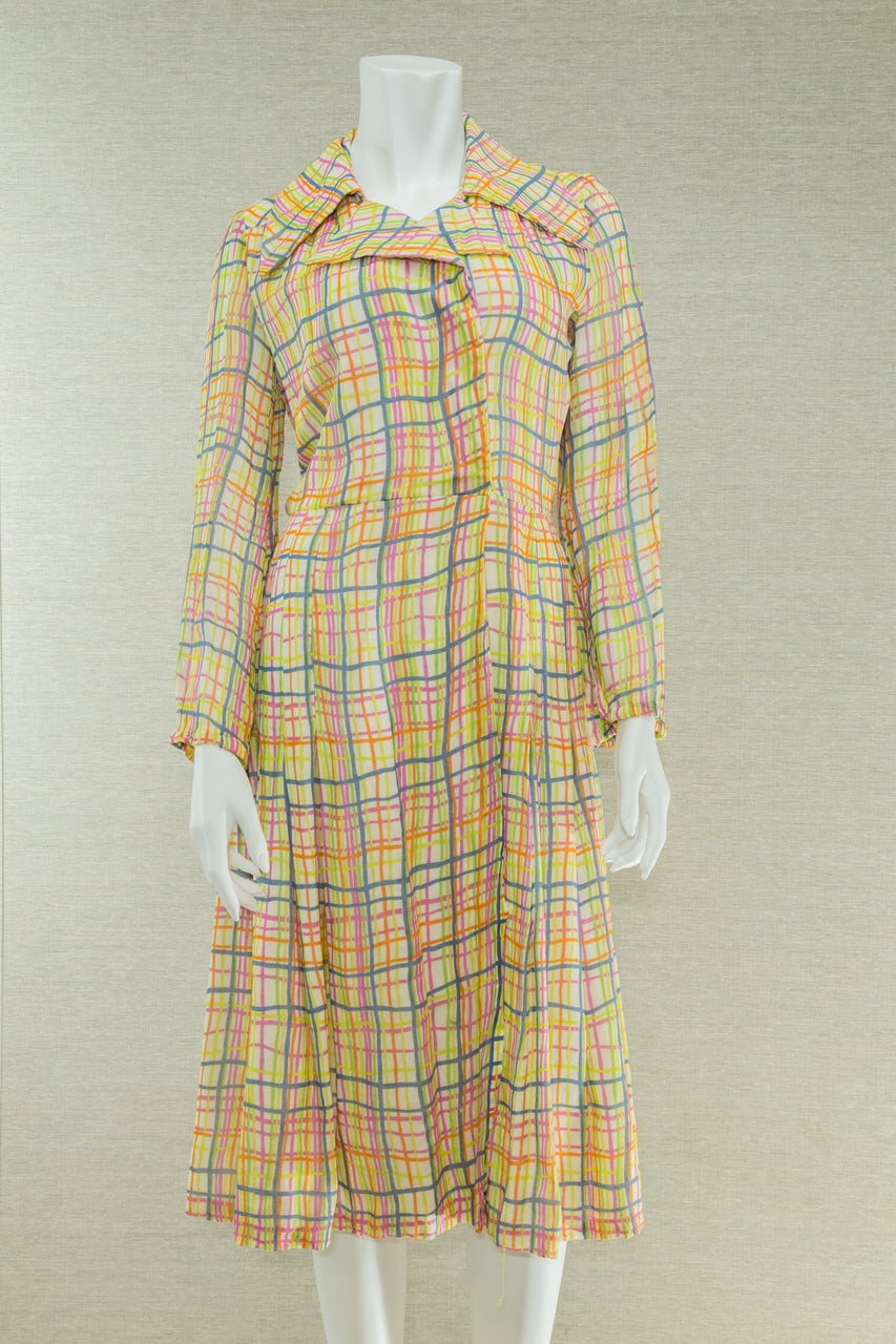 Image of 60s Abstract Stripes Coat Dress