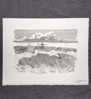 Image of Sandwich Islanders In The Surf- Letterpress Print