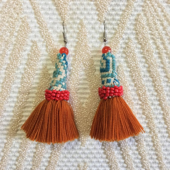 Image of •fi fi• hmong earrings - spice and chili red