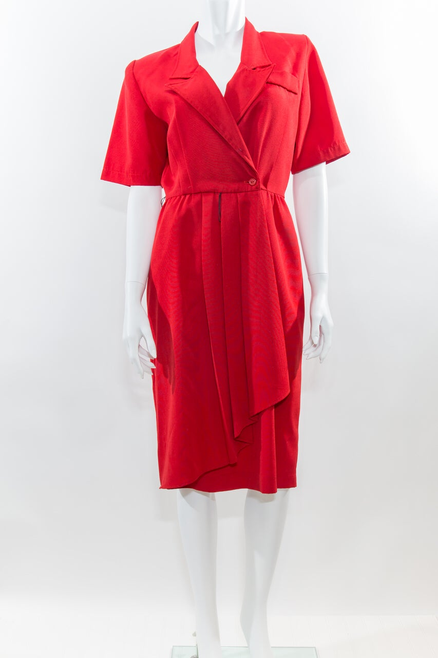Image of Red Waterfall Faux Wrap Dress