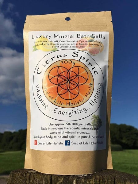 Image of 100% Natural & Organic Citrus Spirit Luxury Mineral Bath Salts - 300g bag