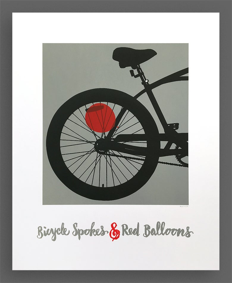 Image of Bicycle Spokes & Red Balloons Silkscreen Print