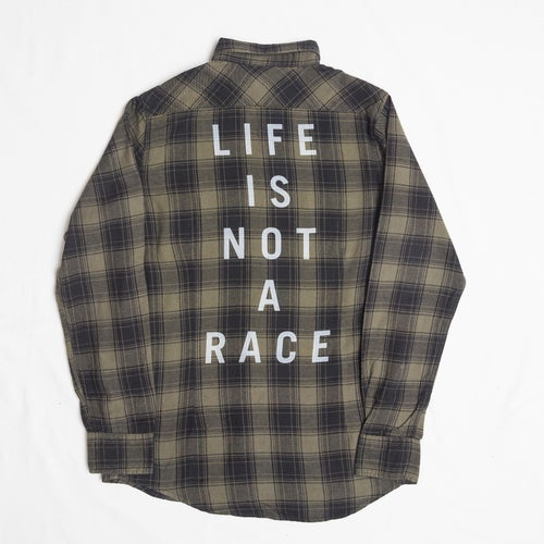 """Image of """"Life Is Not A Race""""  FLANNEL OLIVE"""