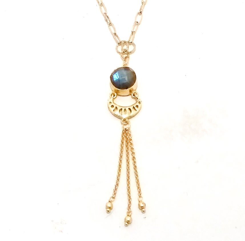 Image of Gold Tassel Labradorite Necklace