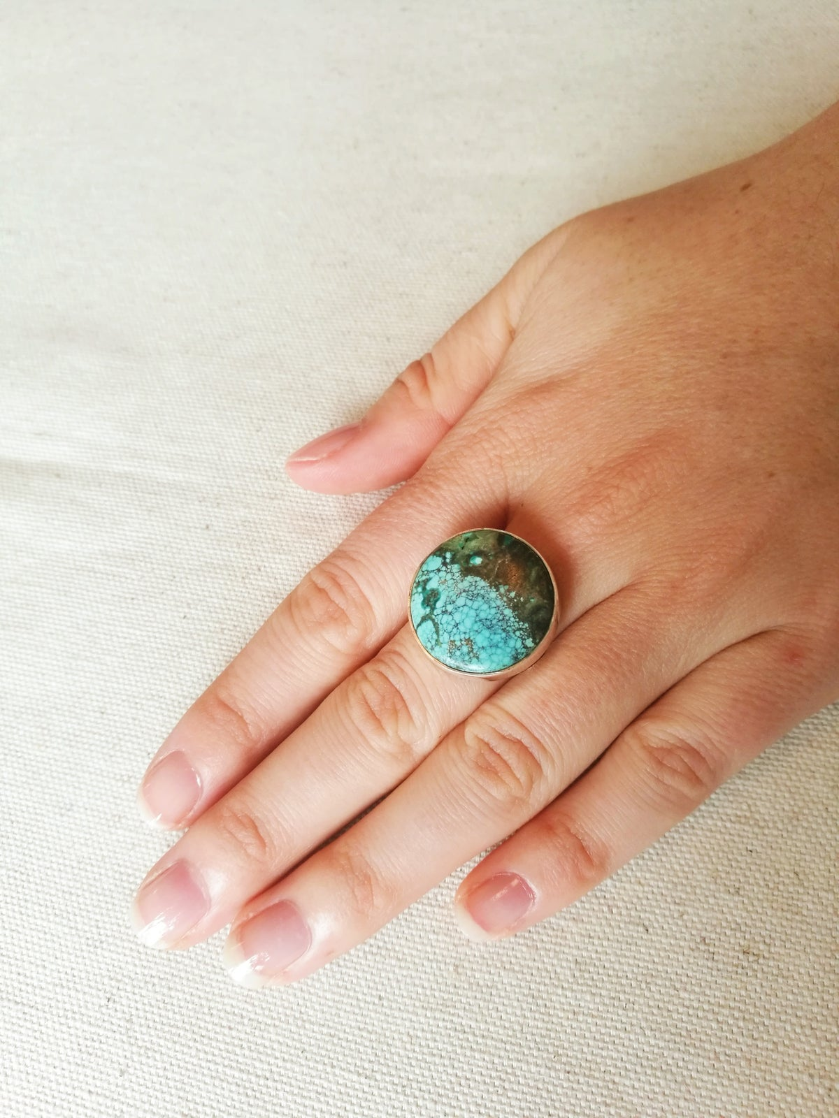 Image of Bague #110 turquoise du tibet naturelle - Taille 52
