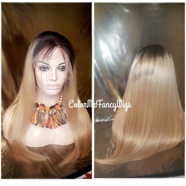 Image of Virgin Brazilian Straight T1b/613/27HL Front Lace Wig