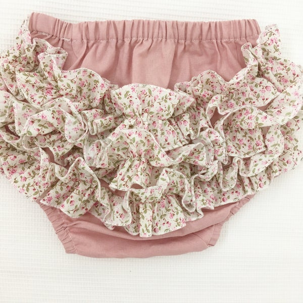 Image of Petite floral frill pants