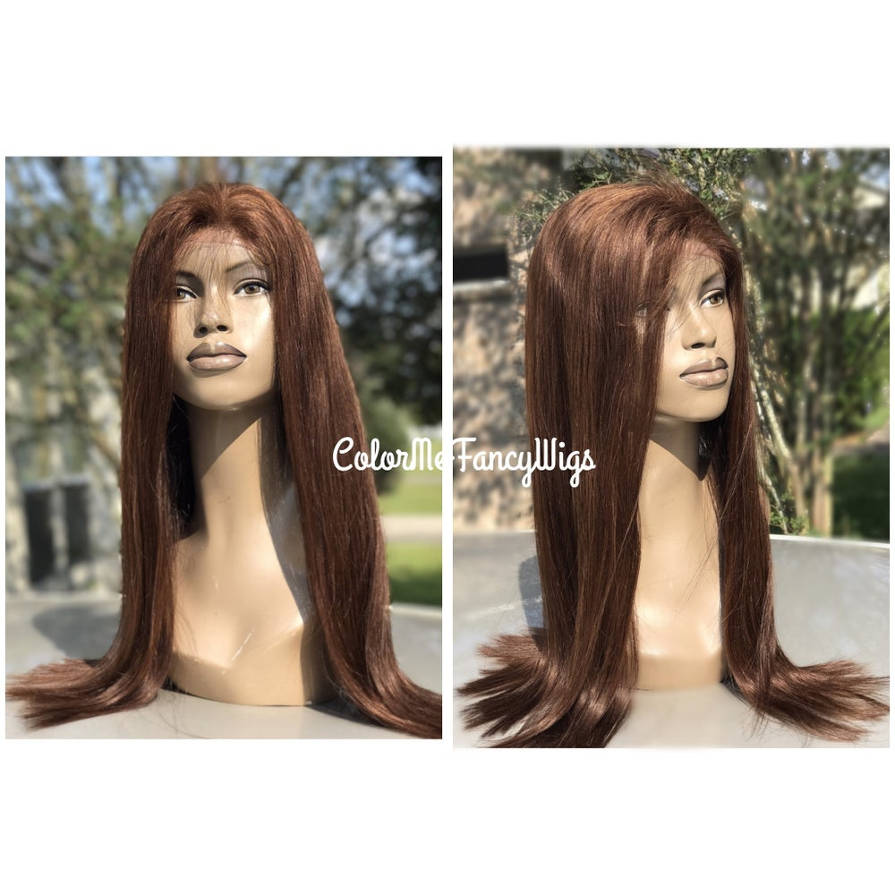 Image of Virgin Brazilian #4 Cinnamon Brown Front Lace Wig