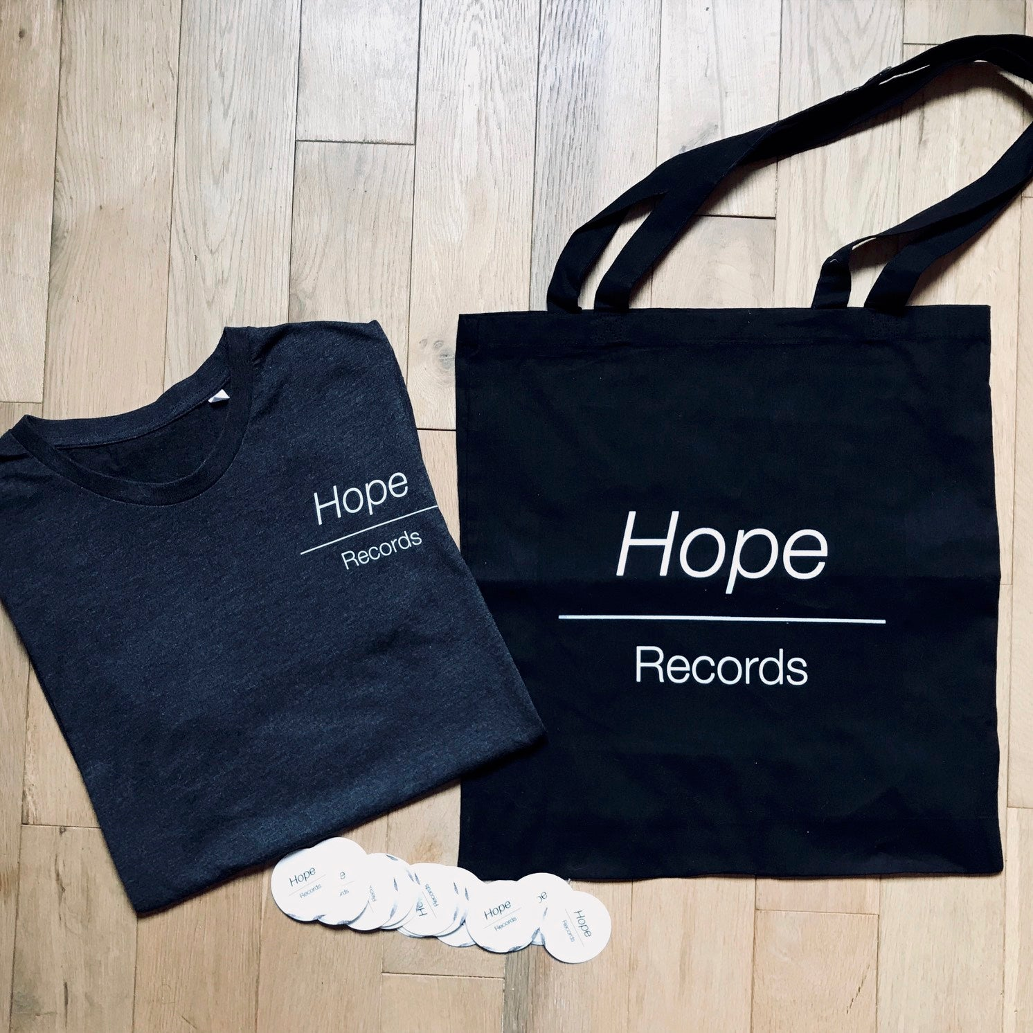 Image of T-Shirt Hope Records (Unisex) + Tote Bag (Noir)