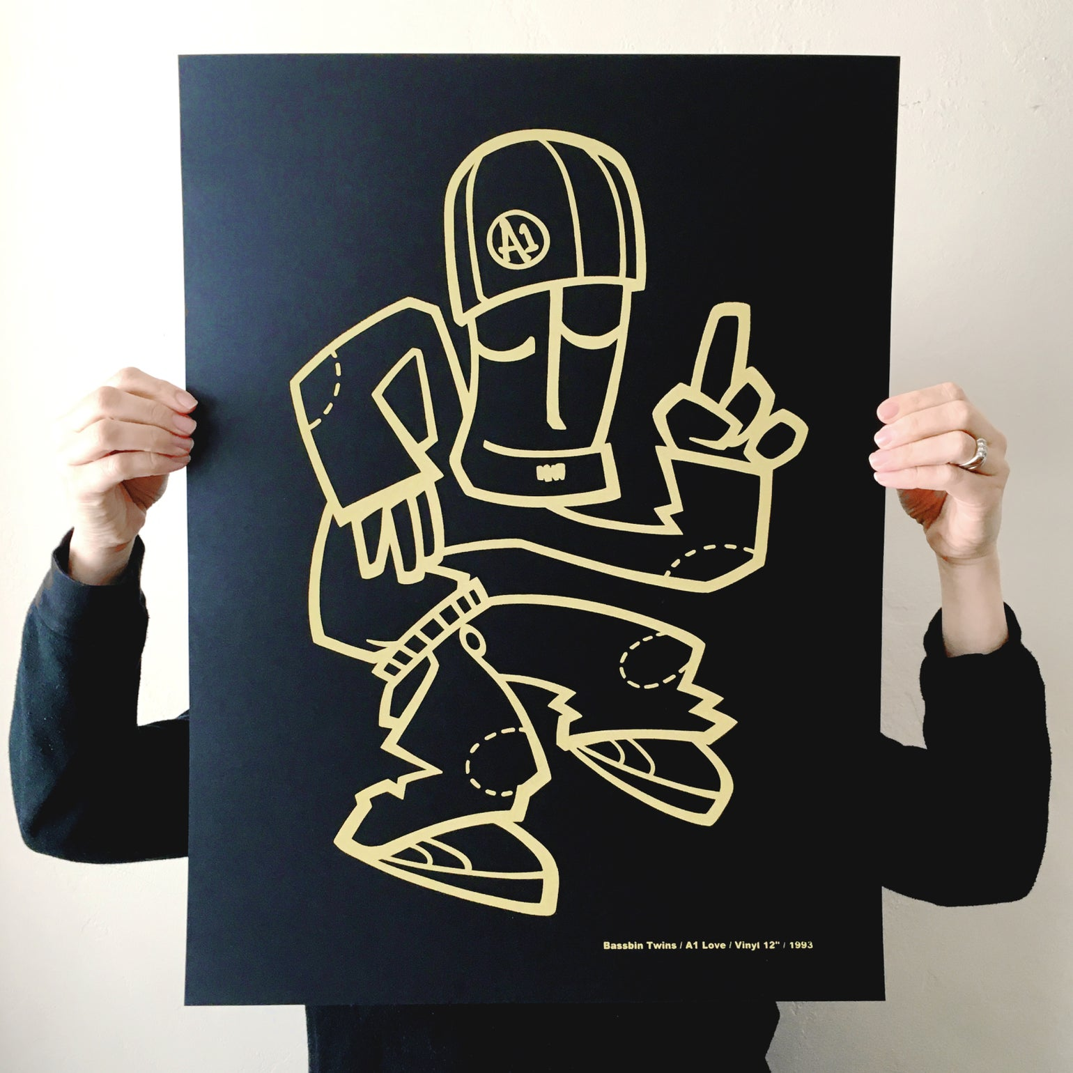 Image of 'A1 LOVE' BLACK GOLD SCREEN PRINT