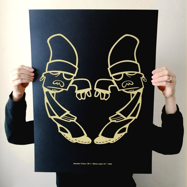 Image of 'TWINS LOGO' BLACK GOLD SCREEN PRINT