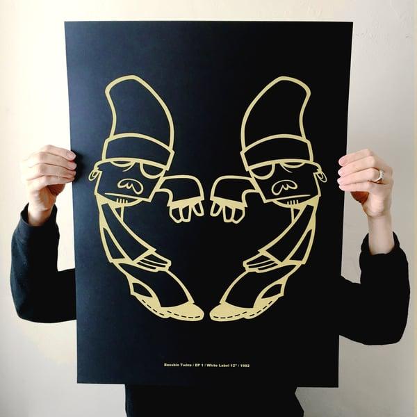 Image of 'TWINS LOGO' BLACK GOLD SCREEN PRINT