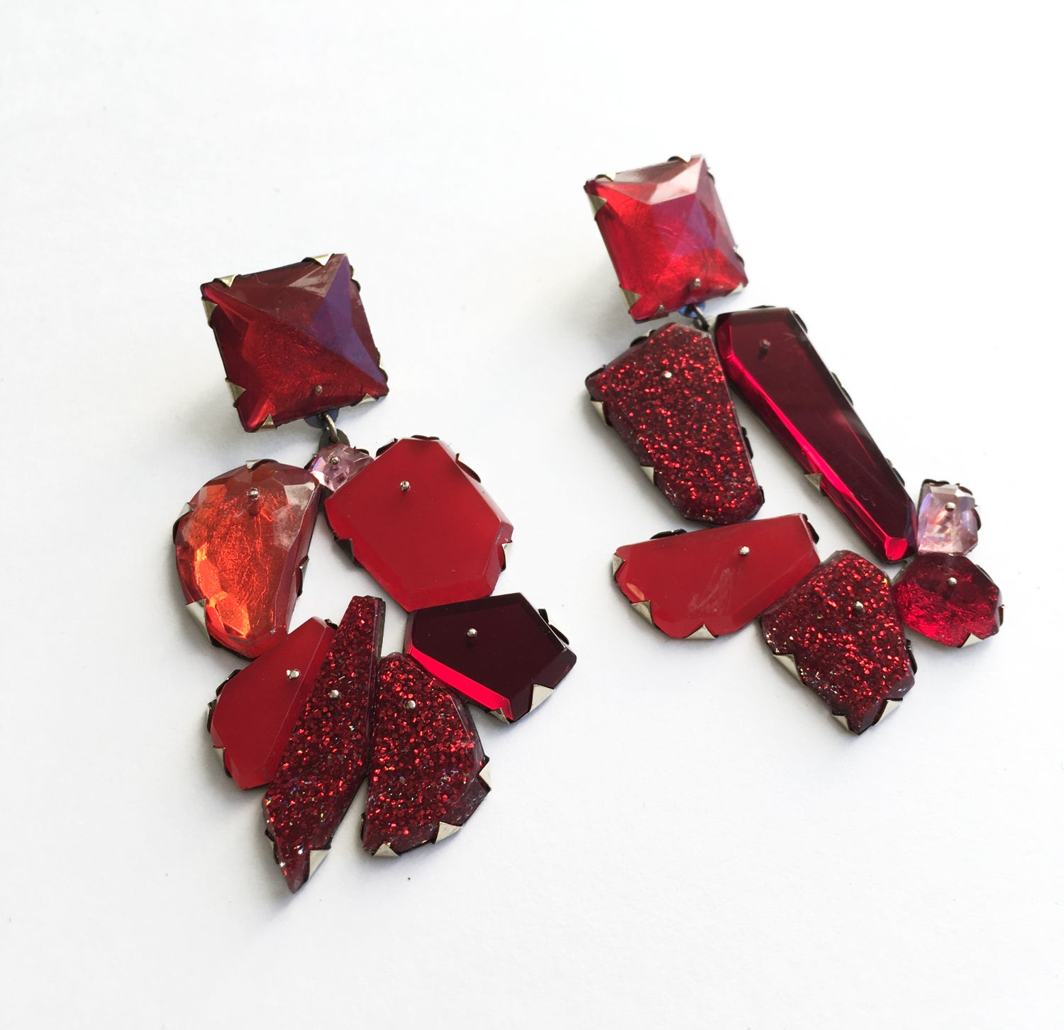 Nikki Coup Red Drop Earrings 3 Image Of