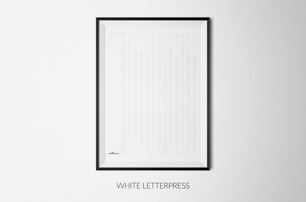 Image of ANTITHESIS WHITE LETTERPRESS DRAW-YOUR-DAYS 2018 CALENDAR