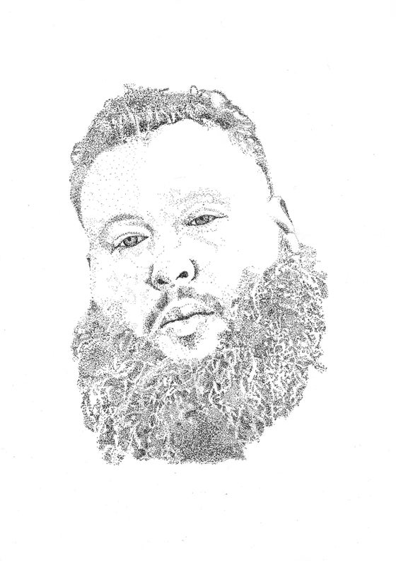 Image of Action Bronson dot work print
