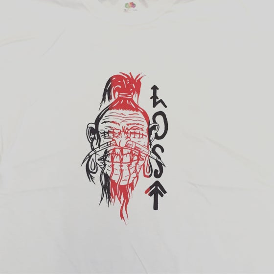 Image of shrunken head lost logo t shirt