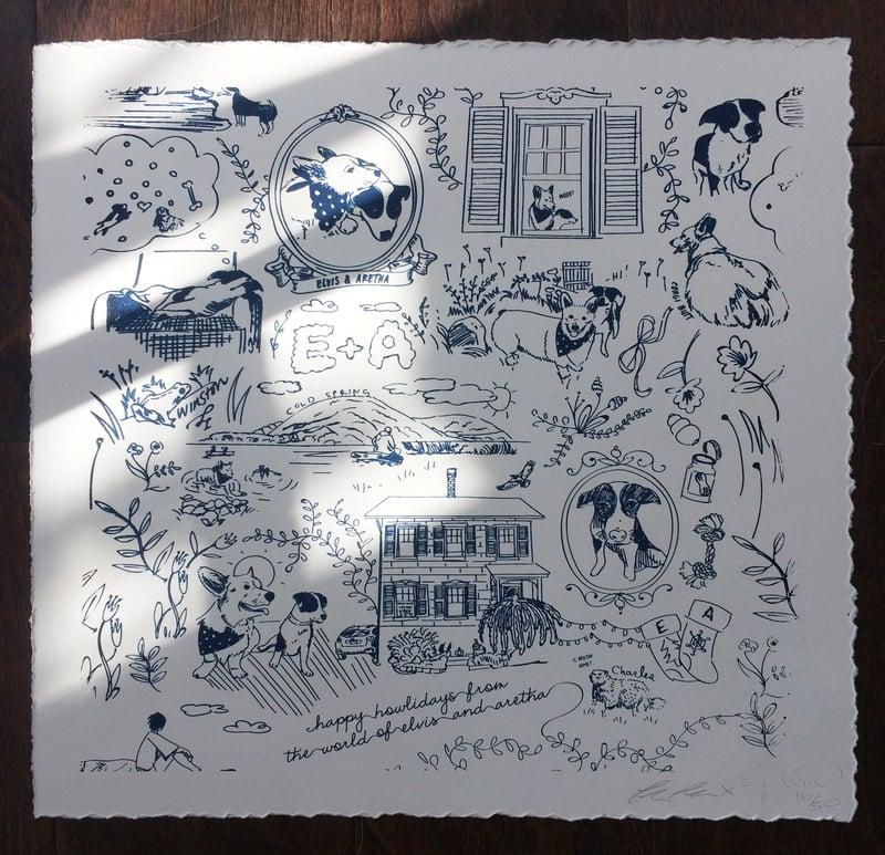 "Image of Elvis & Aretha's 14"" x 14"" Silkscreen Print"