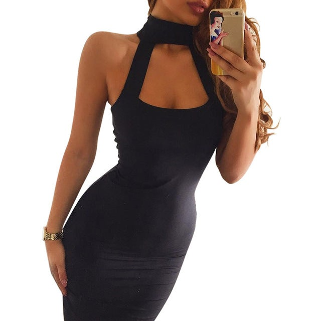 Image of Cut out chest choker bodycon