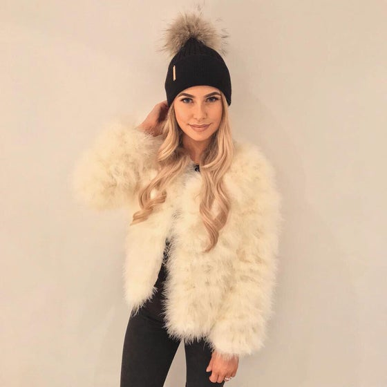 Image of Lulu Turkey Feather Jacket - Vanilla WAS £65