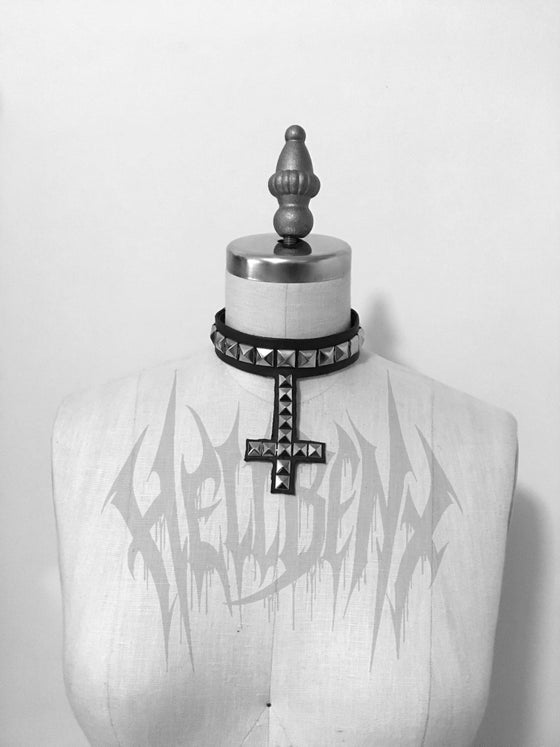 Image of Hellbent Angelripper Studded Inverted Cross Leather Choker