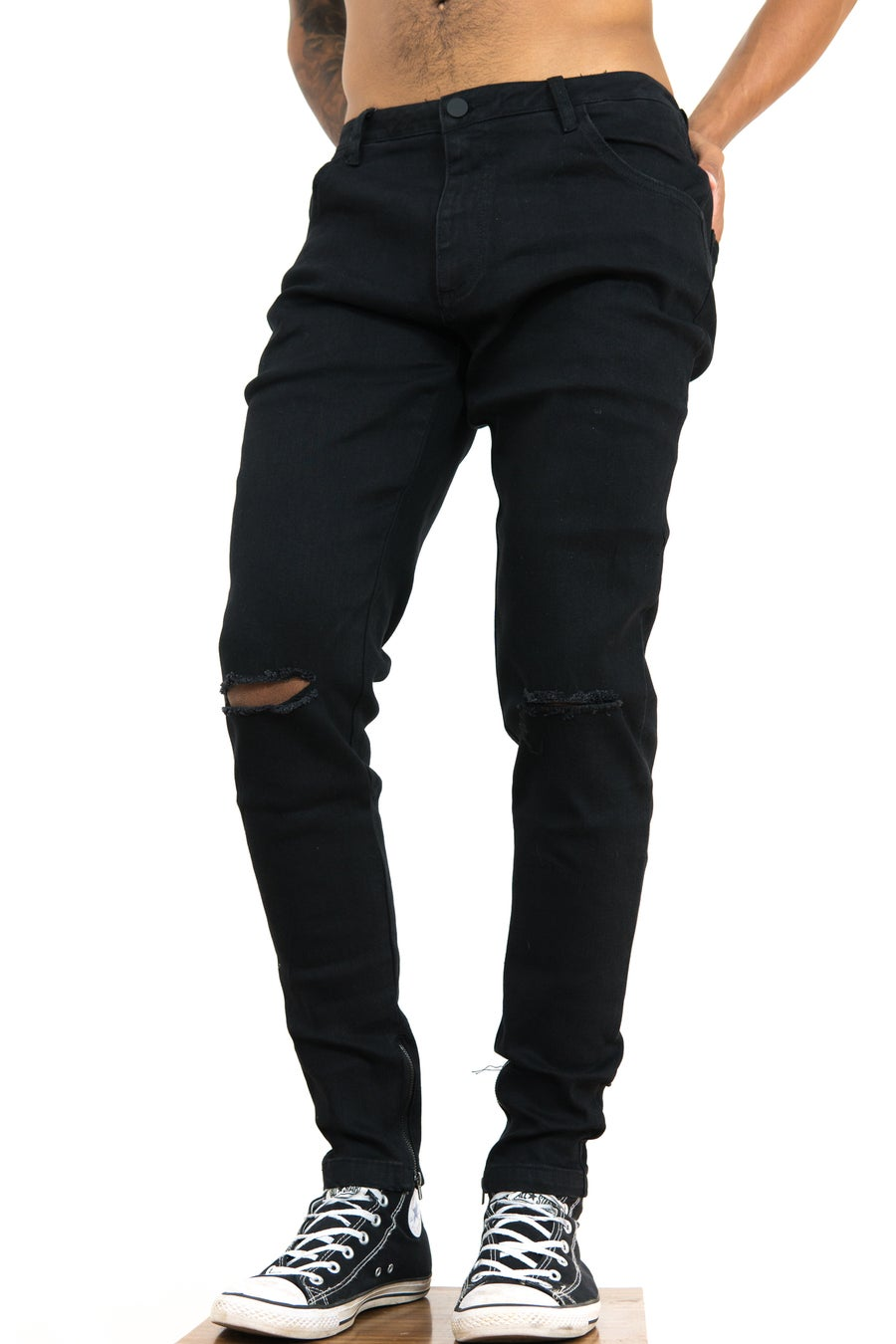 Image of Weeknd ™ Distressed Tapered Jean